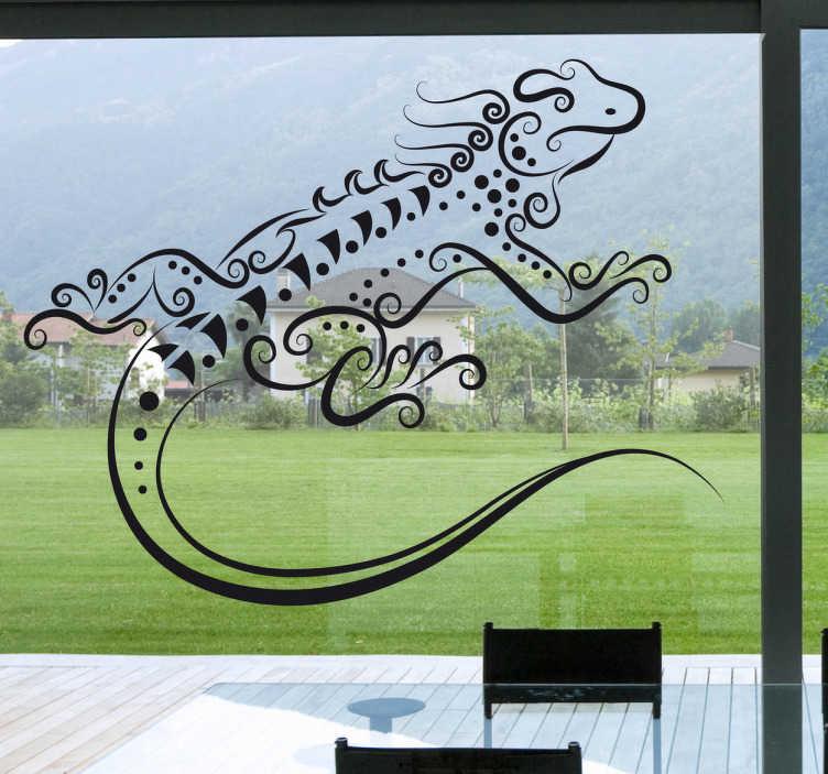 TenStickers. Naklejka dekoracyjna abstrakcyjna jaszczurka. Naklejka dekoracyjna do umieszczenia na powierzchnie szklane, przedstawiająca jaszczurkę w stylu abstrakcyjnym. Ładny ozdoba do dekoracji Twejego okna.