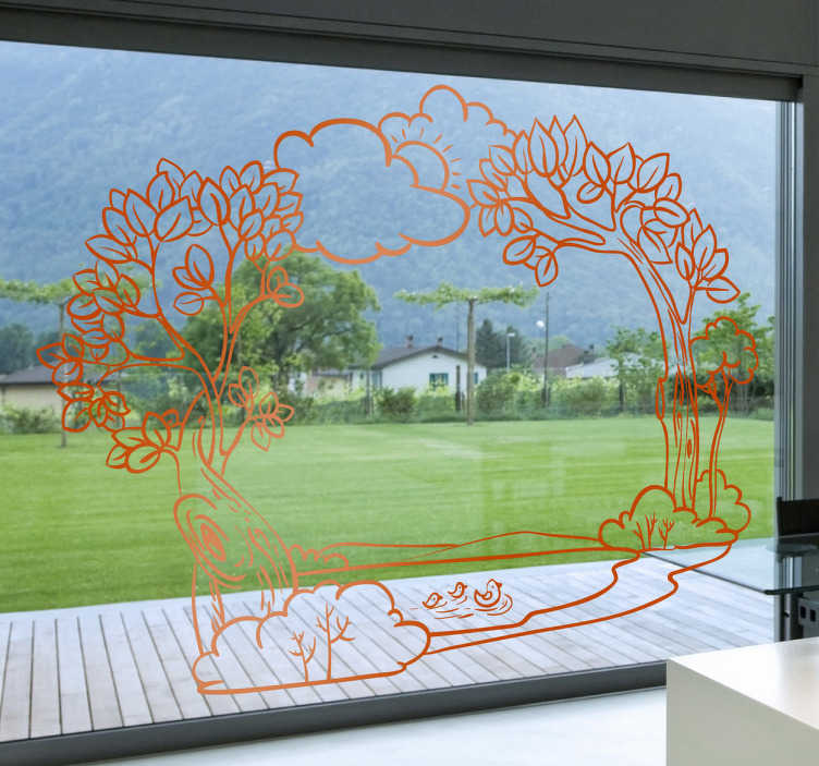 TenStickers. Natural Outlook Scene Decal. Decals -  Nature theme design. Distinctive feature ideal for glass windows. Available in various sizes and colours.