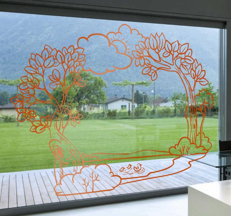 TenStickers. Adhésif mural cadre nature. Stickers idéal pour apporter une touche de nature aux cadres des miroirs et fenêtres de votre intérieur.Une jolie idée pour une décoration d'intérieur originale.