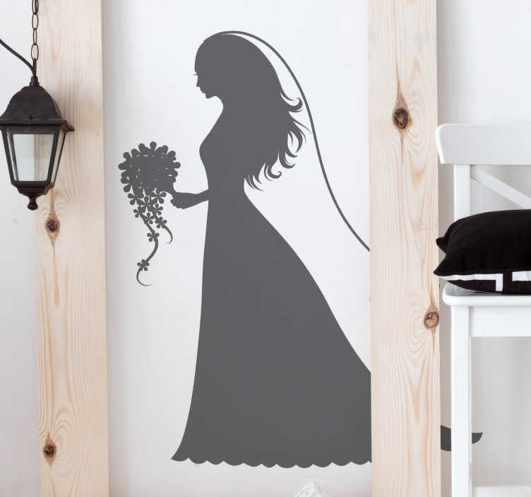 TenStickers. New Bride Silhouette Sticker. Sticker with the silhouette of a girl dressed as an elegant bride with a veil and bouquet of flowers.