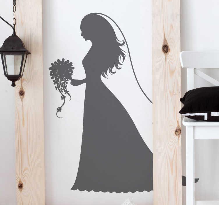 TenStickers. Vinil decorativo noiva casamento. Vinil decorativo com a silhueta de uma mulher vestida de noiva, preparada para o seu casamento e para dizer que sim, com o seu véu e ramo de flores.