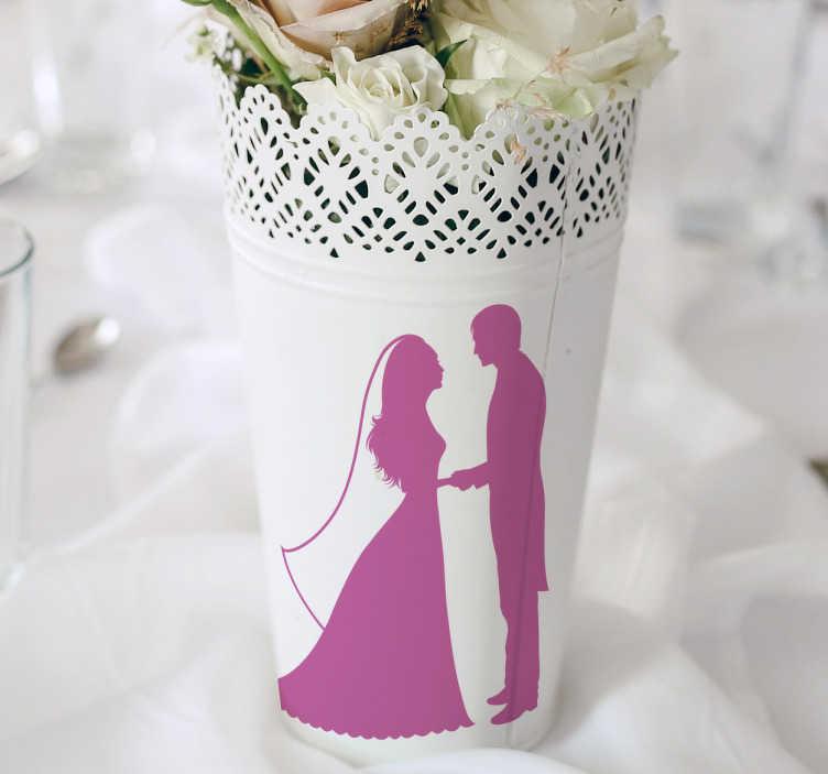 TenStickers. Vinil Decorativo Silhueta Noivos. Vinil decorativo com silhueta de noivos, vinil perfeito para personalizar os objetos de decoração num dos dias mais marcantes da sua vida.
