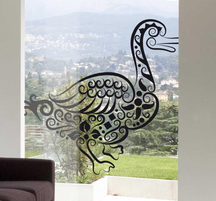 TenStickers. Naklejka dekoracyjna abstrakcyjna kaczka. Naklejka dekoracyjna przedstawiająca kaczkę w stylu abstrakcyjnym, która ładnie ozdobi powierzchnie szklane w Twoim domu.