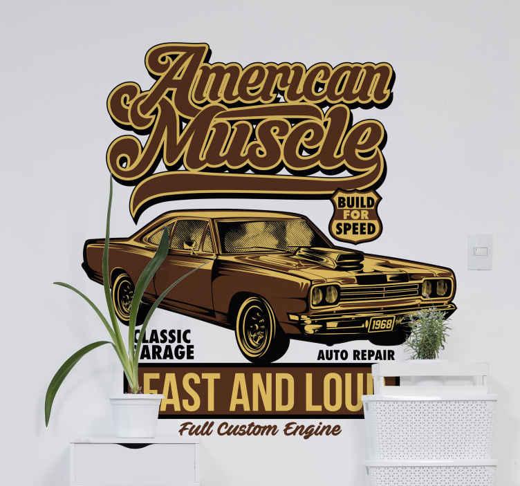 TenStickers. Auto sticker Amerikaanse klassieke autosalon. Een decoratieve Amerikaanse klassieke auto met tekst muursticker met tekstbeschrijving ervan. Verkrijgbaar in elke gewenste maat.