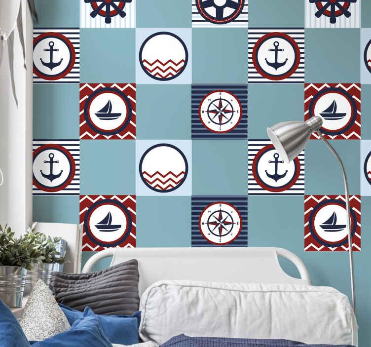 TENSTICKERS. 船員の要素タイル転送デカール. さまざまな船員の要素が付いている装飾的なタイルステッカーはあなたの台所か浴室スペースを飾るために。パックセットと任意のサイズで利用できます。