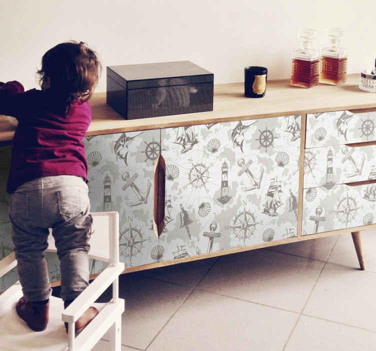 TenVinilo. Vinilo muebles faro marinero con brújula. Vinilo para muebles de cocina con diseños de diferentes elementos náuticos. Hecho de alta calidad. Medidas personalizables ¡Envío a domicilio!