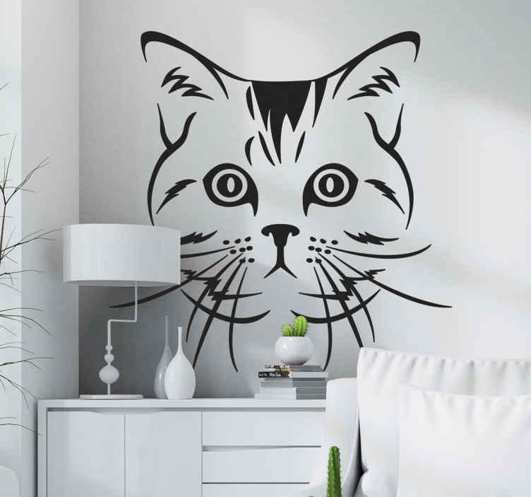 TenStickers. Muursticker hond Kat die recht vooruit kijkt. Een decoratief katten muursticker ontwerp voor katten- en huisdieren liefhebbers in het algemeen. Het is verkrijgbaar in verschillende kleuren en maatopties.