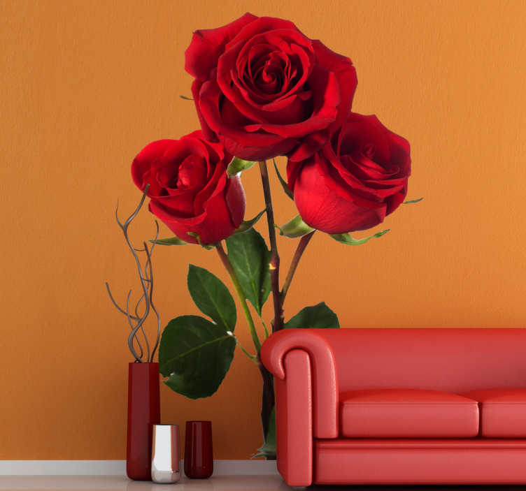 TenStickers. Three Red Roses Wall Sticker. Floral wall decals- a three rose wall sticker that will brighten up and add decoration to any room in your home. Have it as a dinning room or living room decal.