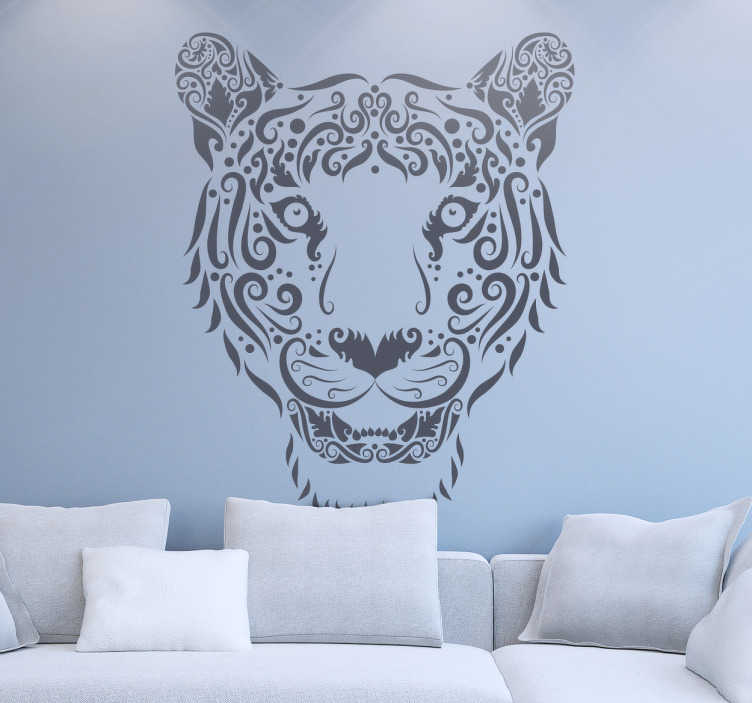 TenStickers. Abstract Tiger Decal. Decals - Abstract illustration of a tiger. Distinctive design ideal for decorating your windows. Available in various sizes and colours.