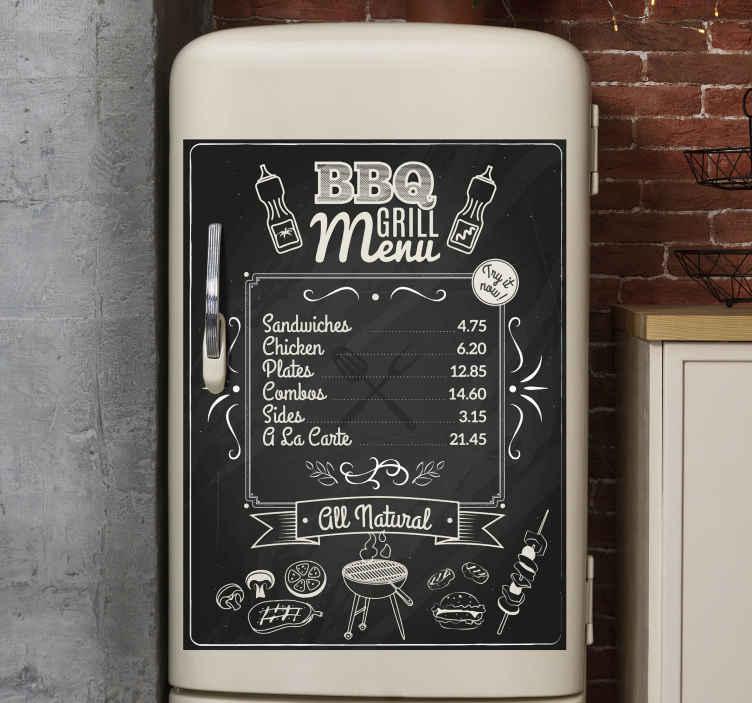 TenVinilo. Vinilo para neveras menú de brasería. Vinilo para frigoríficos de menú de parrilla para decorar la puerta del refrigerador y decorar tu cocina de forma original ¡Envío a domicilio!