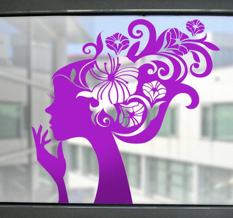 TenStickers. Nalepka cvet dekle silhueta. Elegantna nalepka s silhouette steno dekle s cvetličnim dizajnom las. Odlična nalepka za cvet stene za okraševanje vaših oken! Dajte svojemu oknu ali stekleni površini posebno značilnost s to cvetno dekalceto. Presenetite svoje prijatelje in družino s to edinstveno in elegantno obliko.