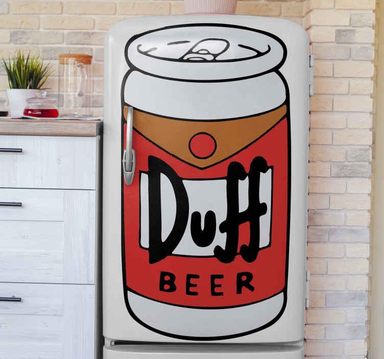 TENSTICKERS. ダフビール冷蔵庫ラップデカール. ドリンクをテーマにした冷蔵庫のドアの表面を覆う、ダフビールカンテナーの冷蔵庫用ラップデカールデザイン。必要なあらゆる次元で利用できます。