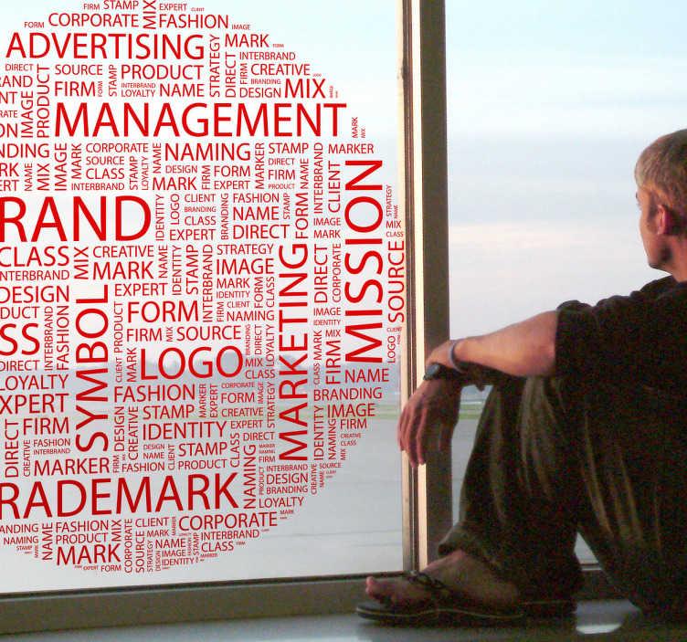 TenVinilo. Vinilo texto cien conceptos empresa. Adhesivo en forma circular con palabras utilizadas en el mundo empresarial, parabras entre las que destacan brand, managment, trademark, mission. Ideal para adorno de cristaleras en cualquier rincón.