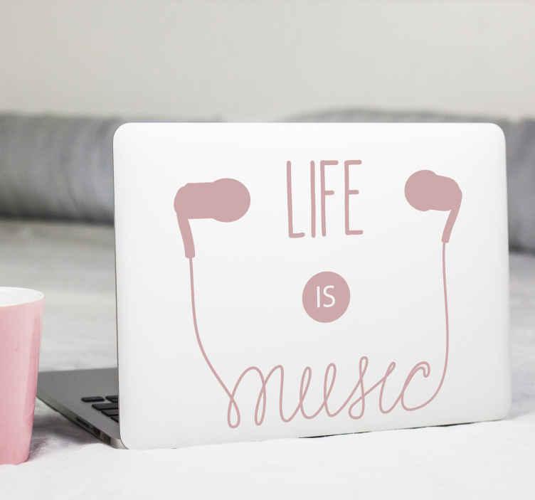 TenStickers. Notebook Aufkleber Kopfhörer Zitat. Musik Kopfhörer Laptop Aufkleber , um eine Laptop Oberfläche mit dem Rhythmus der Musik zu dekorieren. Es ist in verschiedenen Größen und Farben erhältlich.