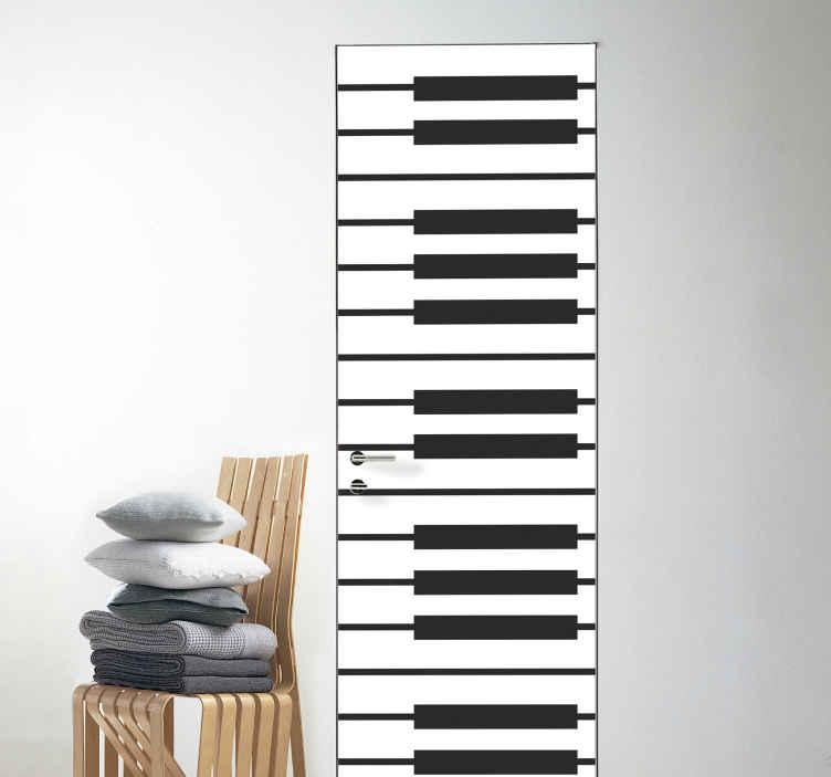 TenStickers. Deur sticker Pianotegels. Decoratieve piano deursticker ontwerp van een piano-instrument. We hebben het in aanpasbare grootte om aan elke vereiste dimensie te voldoen.