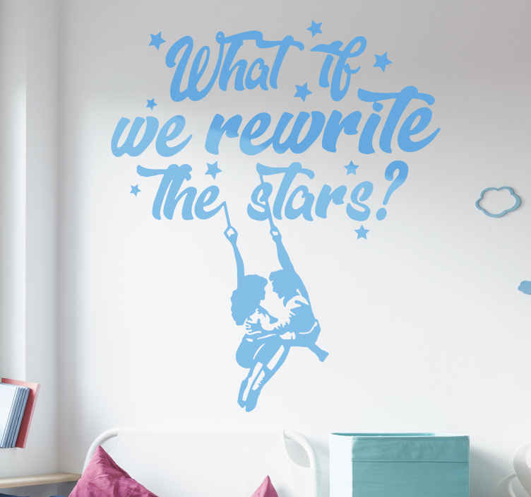 TENSTICKERS. 星シネマデカールを書き換え. テキストの引用で設計されたハリウッドのテーマの壁用ステッカー ''星を書き直したらどうなるか? ''この製品は、さまざまな色とサイズのオプションで利用できます。