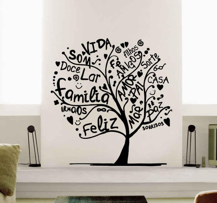TenStickers. Autocolantes de flores e plantas árvore feita de palavras. Vinil decorativo da parede da árvore feito com palavras. Está disponível em diferentes cores e opções de tamanho e sua aplicação é fácil.