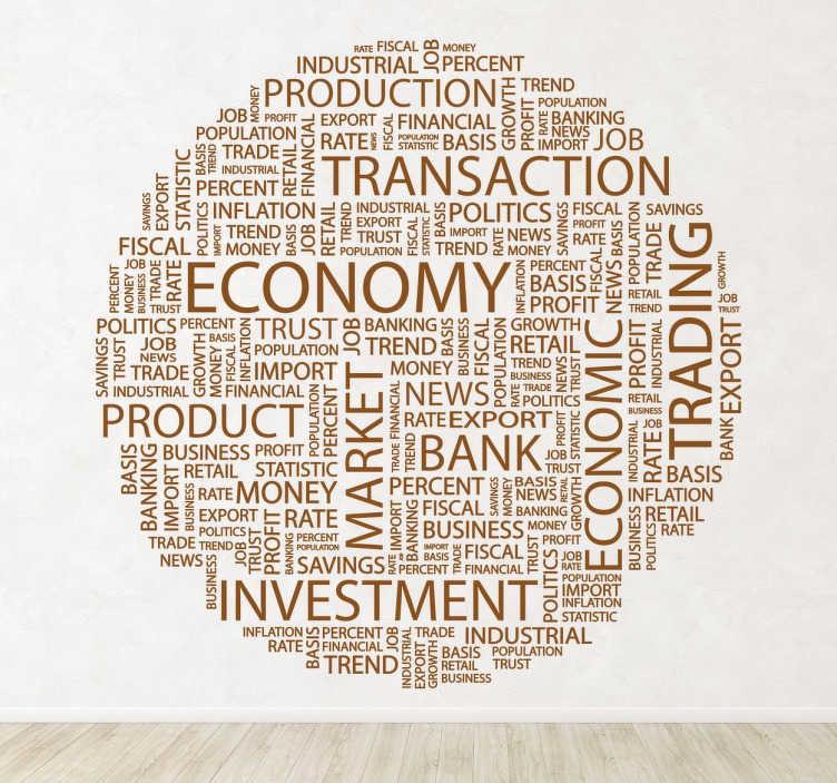 TenVinilo. Vinilo decorativo textos empresariales. Adhesivo en forma circular con palabras utilizadas en el mundo empresarial, palabras entre las que destacan economy, transaction, investment, trading, market. Ideal para adorno de cristaleras en cualquier rincón.