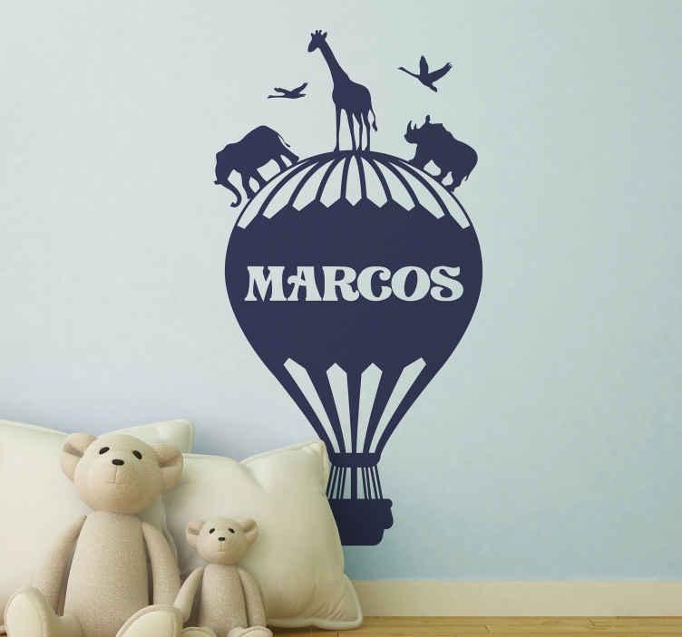 Wandtattoo Heissluftballon Mit Dschungeltieren Tenstickers