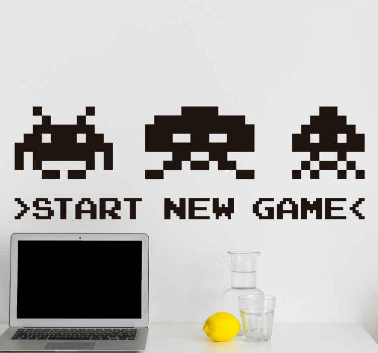 TENSTICKERS. 新しいゲームビデオゲームの壁デカールを開始する. 十代の若者たちのスペースのための星の新しいゲームのビデオゲームの装飾的な家の壁のステッカーのデザイン。さまざまな色とサイズのオプションが用意されています。