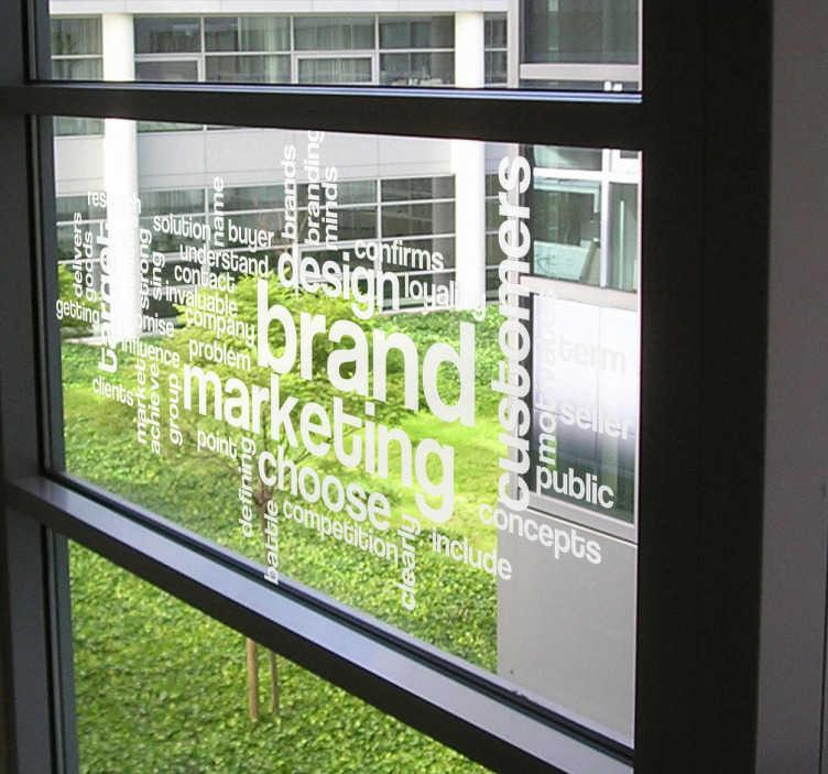 TenStickers. Naklejka pomysły marketing. Naklejka dekoracyjna przedstawiająca  liczne, angielskie słowa nawiązujące do marketingu.