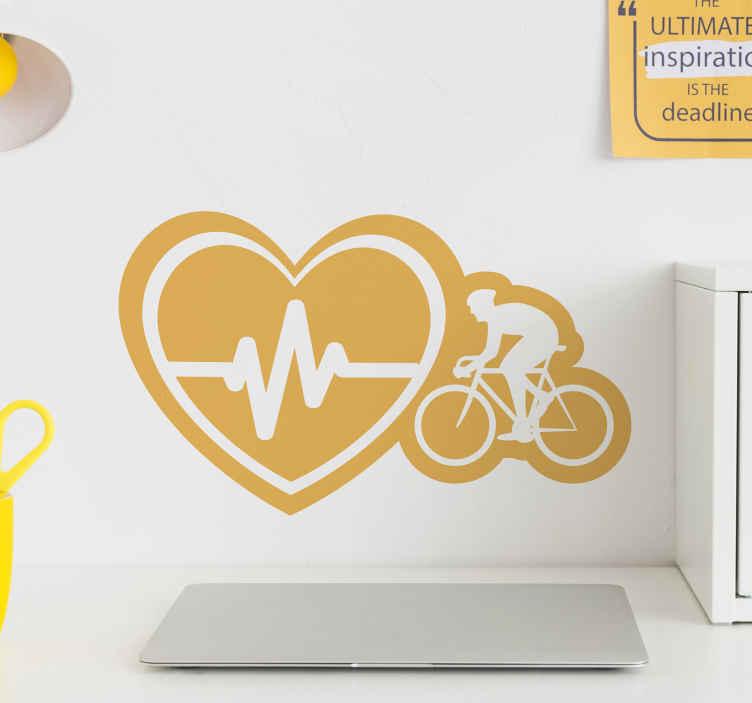 TenStickers. Autocollant Vélo et rythme cardiaque . Sticker sport au design de cycliste avec un cœur montrant le rythme cardiaque pour décorer n'importe quel espace de choix. Il est disponible en différentes couleurs et tailles.