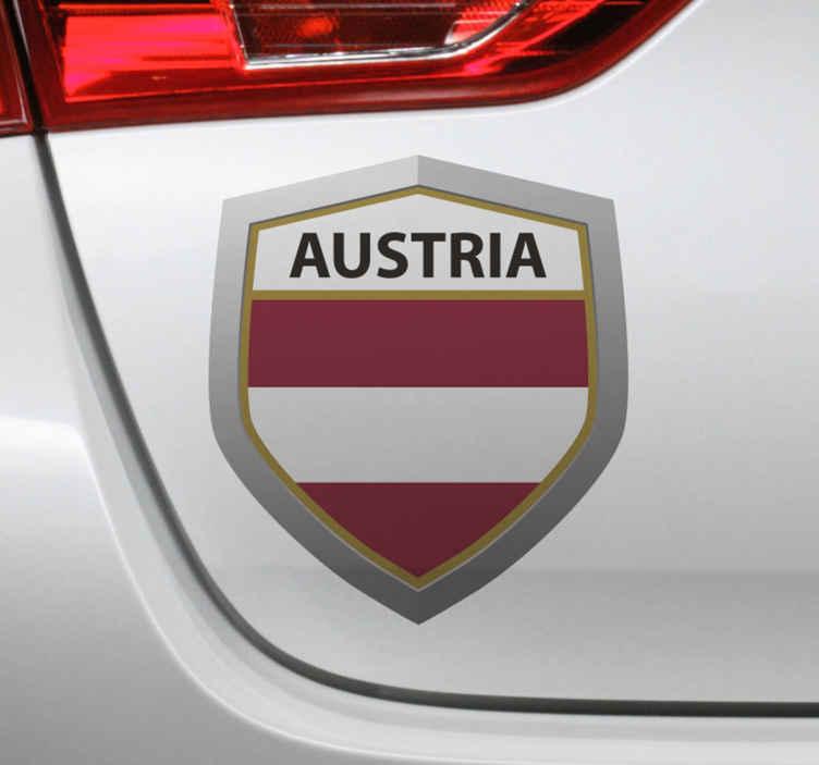 TenStickers. Aufkleber Auto Österreich Emblem. Dekorativer Österreich Emblem Aufkleber für alle ebenen Flächen. Das Produkt ist einfach aufzutragen und auf allen ebenen Flächen dekorativ.