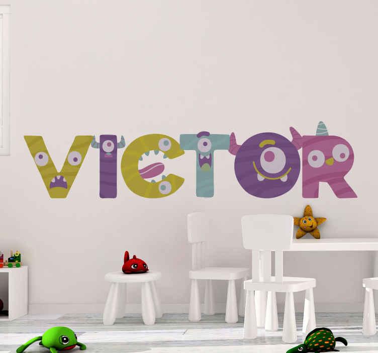 TENSTICKERS. モンスターフォントモンスターデカール. 装飾的な子供壁アートステッカーデザイン子供と10代の寝室スペースの個人的な名前。サイズはさまざまです。