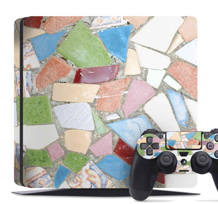 TenVinilo. Skin PS4 piedras de colores. Dale un diseño colorido de textura de piedra a tu playstation 4 con este skin ps4 con el que va a adquirir un toque artístico ¡Envío a domicilio!