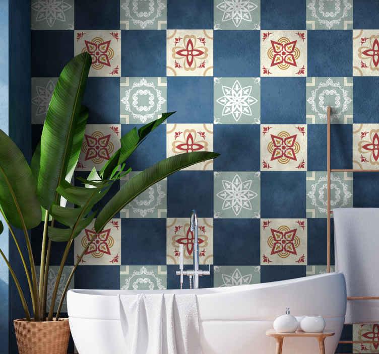 TenStickers. Adesivo per piastrella Stile floreale. Adesivo decorativo impermeabile in piastrelle di vinile per bagno è facile da applicare e può essere pulito tutte le volte che è necessario.