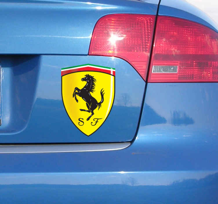 TenVinilo. Vinilo decorativo emblema Ferrari. Escudo Adhesivo de la emblemática marca italiana de coches deportivos. Si te apasiona la velocidad y las carreras no te puede faltar esta pegatina.