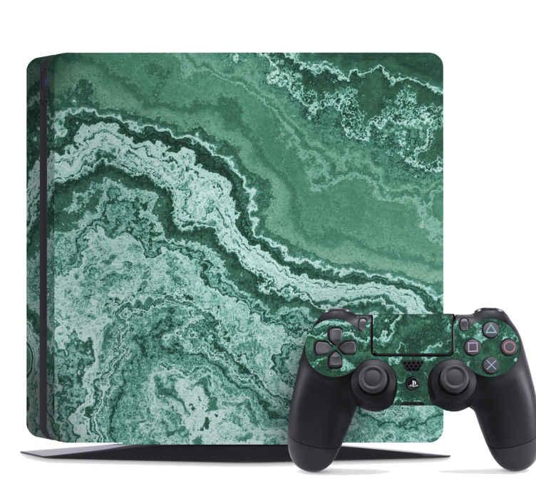 TenStickers. PS4 sticker Groen marmer. Decoratief ps4 marmer sticker ontwerp met groen. Het is gemakkelijk aan te brengen en hecht stevig en soepel op het oppervlak.