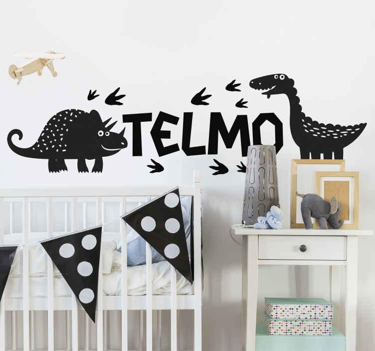TenStickers. Wandsticker Dinosaurier Glückliche Dinosaurier mit Namen. Dekorieren Sie den Schlafraum Ihres Kindes mit dem Nervenkitzel der Dinosaurier, mit einem anpassbaren Namen. Es ist einfach anzuwenden.