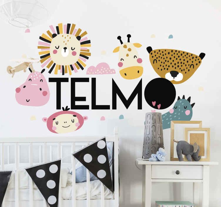 TENSTICKERS. 名前イラストウォールアートとジャングル. さまざまなカラフルなジャングルの動物と寝室のスペースの子供壁アート装飾。適用は簡単で、さまざまなサイズのオプションで利用できます。