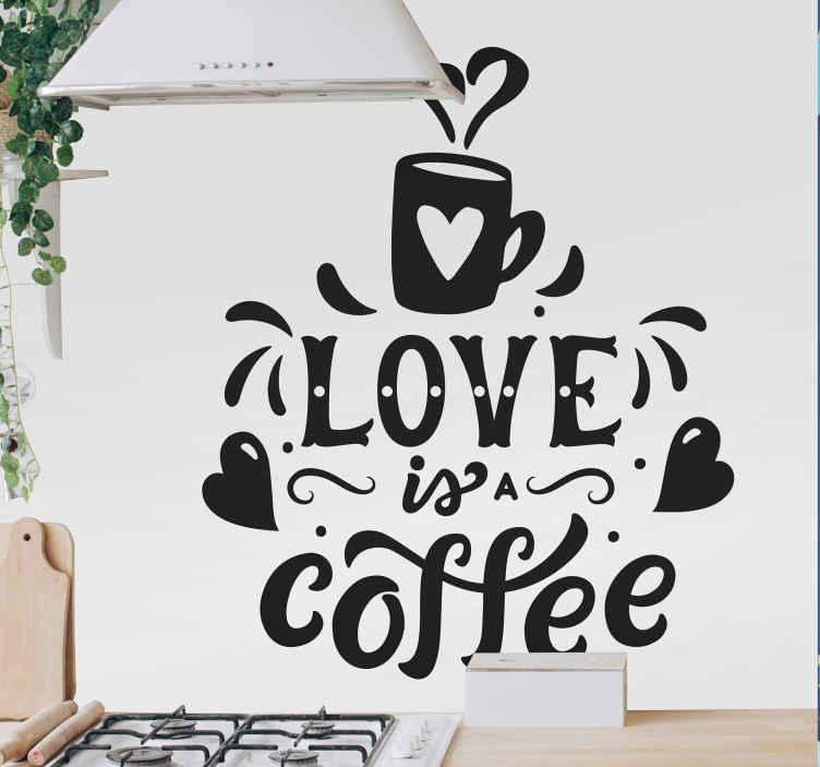 TENSTICKERS. 愛はコーヒードリンク壁デカール. 私たちの装飾的なコーヒードリンクテキストビニールデカールをキッチンスペースに置いて、それがどれほど美しいかを確認してください。適用が簡単でカスタマイズ可能