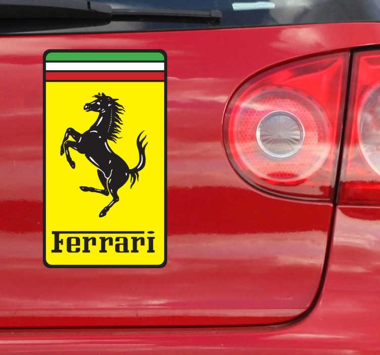 TenVinilo. Pegatina escudo rectangular Ferrari. Escudo Adhesivo de la famosa marca italiana de coches deportivos representada por un caballo negro sobre fondo amarillo. Si eres un apasionado de la velocidad no puede faltarte esta pegatina en el coche.