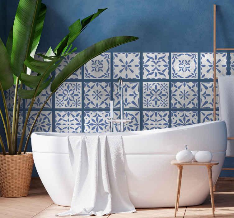 TenStickers. Adesivo per piastrella stile portoghese. Acquista la nostra decalcomania portoghese con piastrelle modellate per decorare il tuo spazio bagno con un tocco di classe. E' disponibile in qualsiasi dimensione richiesta.