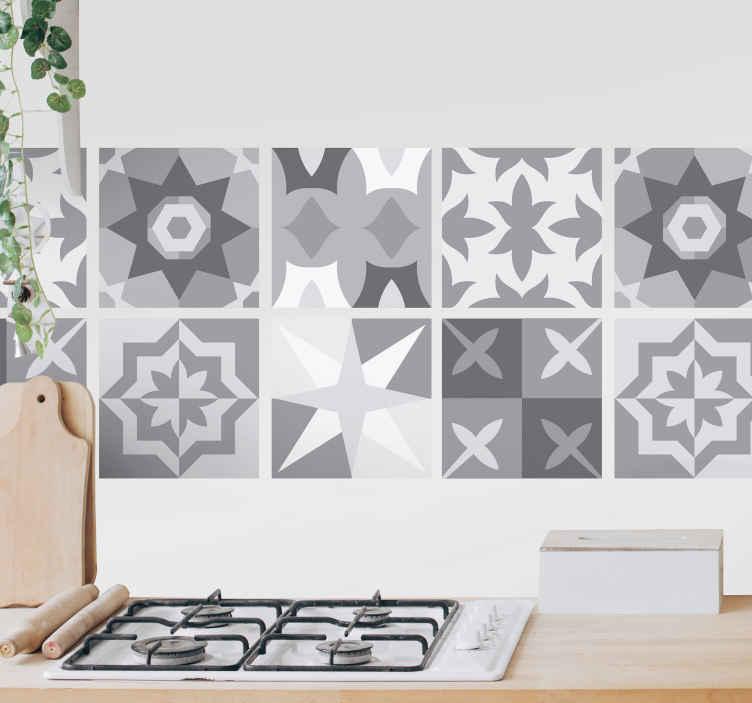 TenStickers. Stickers tegels Tinten grijs. Decoratieve keuken verschillende vormen tegelsticker met verschillend patroonontwerp in grijstinten. Het is verkrijgbaar in verschillende maatopties.