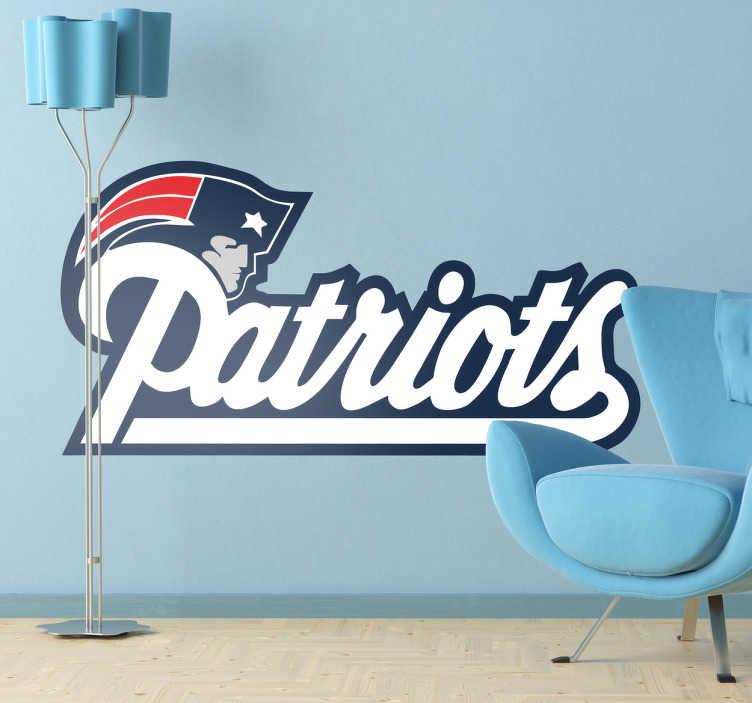 TenVinilo. Vinilo decorativo escudo Patriots. New England Patriots, adhesivo del equipo de fútbol americano con sede en Massachusetts. Elige esta pegatina si te gusta este deporte.