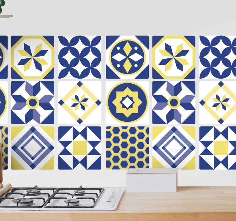 TenStickers. Autocolantes azulejos decorativos Amarelo e azul. Um autocolante de azulejo amarelo e azul de vinil, projetado em diferentes estilos e padrões para o seu espaço na cozinha. Está disponível no tamanho desejado.