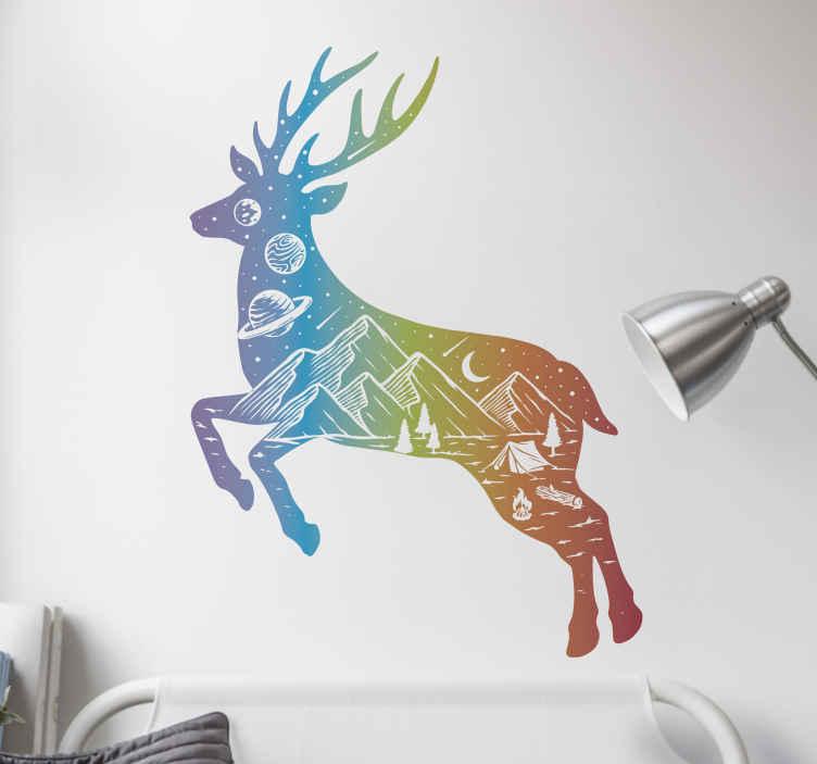 TENSTICKERS. カラフルな鹿の野生動物ステッカー. あなたの家のための装飾的なカラフルな鹿の野生動物の壁のステッカー。デザインはどんなサイズの欲望でも利用可能であり、それは適用が簡単です。
