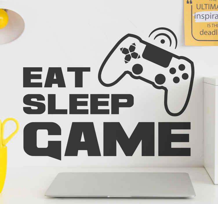 """TenStickers. Wandtattoo Videospiel Eat Sleep Game. Videospiel Text Wandtattoo für Teenager Raumdekoration. Es heißt """"Eat, Sleep, Game"""". Das Produkt ist in jeder gewünschten Größe erhältlich."""