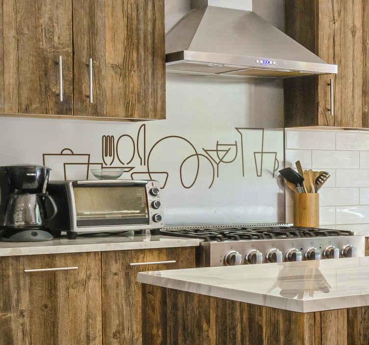 TenVinilo. Vinilo decorativo utensilios de cocina líneas elegantes. Vinilo para cocina de utensilios en un estilo elegante con el que podrás decorar tu cocina de forma original. Elige tamaño ¡Envío a domicilio!