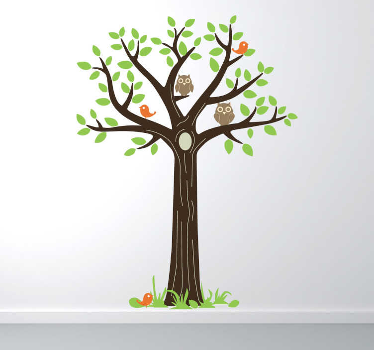 TenVinilo. Vinilo decorativo árbol y búhos. Bonito Adhesivo decorativo de un árbol en el que hacen vida diferentes aves del bosque. Ideal para la decoración de los bebés de tu casa.