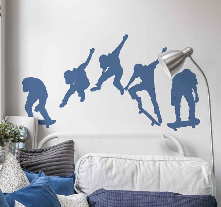 TenVinilo. Vinilo habitación juvenil hombre saltando con skate. Vinilo habitación juvenil encantador e inspirador para los adolescentes que aman el patinaje para encontrar la motivación ¡Envío a domicilio!