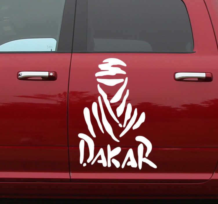 TenStickers. Dakar logo sticker. Deze autosticker bestaat uit het logo van de Dakar rally Deze race wordt ieder jaar in Januari gehouden met motor, quads en andere vervoersmiddelen.