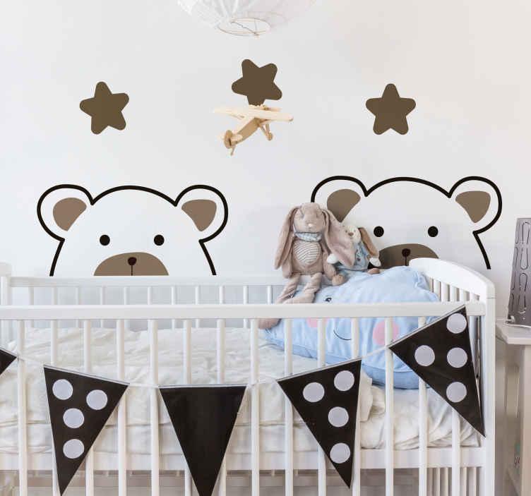 TENSTICKERS. クマと星の壁デカール. キッズと星のデザインが施されたキッズウォールアートステッカーデコレーションは、寝室に素敵で幸せな雰囲気を作り出します。どのサイズでもご利用いただけます。