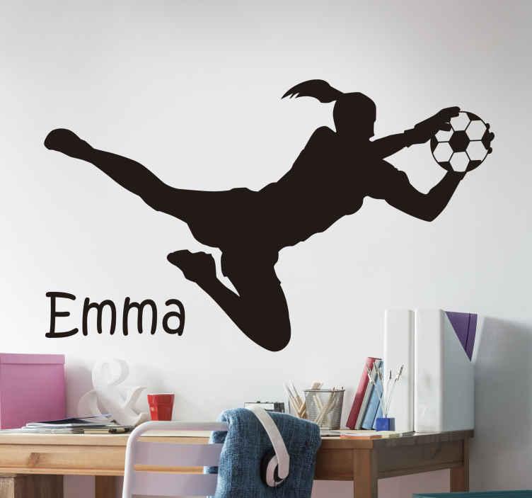 TENSTICKERS. サッカーゴールキーパーサッカーデカール. 女子サッカー選手のスポーツウォールステッカー装飾。名前でパーソナライズでき、色はさまざまなオプションでカスタマイズできます。