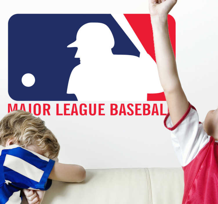 "TenStickers. Sticker logo ML Baseball. Muursticker van de Major League Baseball uit de Verenigde Staten, u hebt het logo vast al eens gezien op de achterkant van iemand zijn ""baseball""-pet."