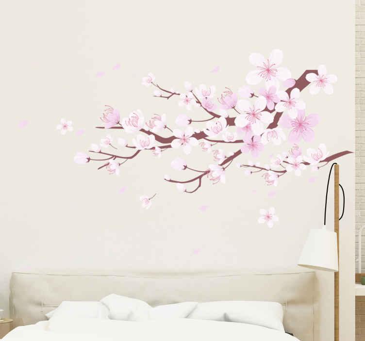 TenStickers. Stickers Kersenbloesemboom. Een geweldige decoratieve kersenbloesemboom voor uw huis en kantoorruimte. Een mooie roze bloem plant ontwerp beschikbaar in elke gewenste grootte.